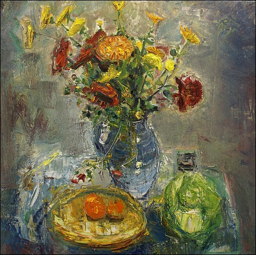 Still life with flowers       oil on board        92x92cms     2011.jpg